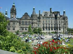 Sheffield town hall and Peace Gardens