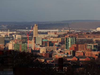 Sheffield skyline showing buildings and scenery