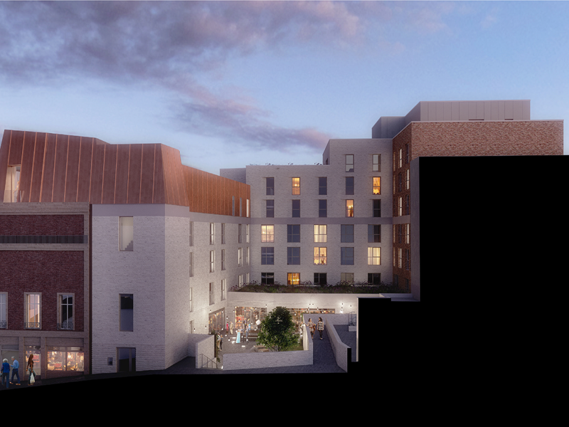 Artistic impression of the Radisson Blu hotel courtyard in Sheffield
