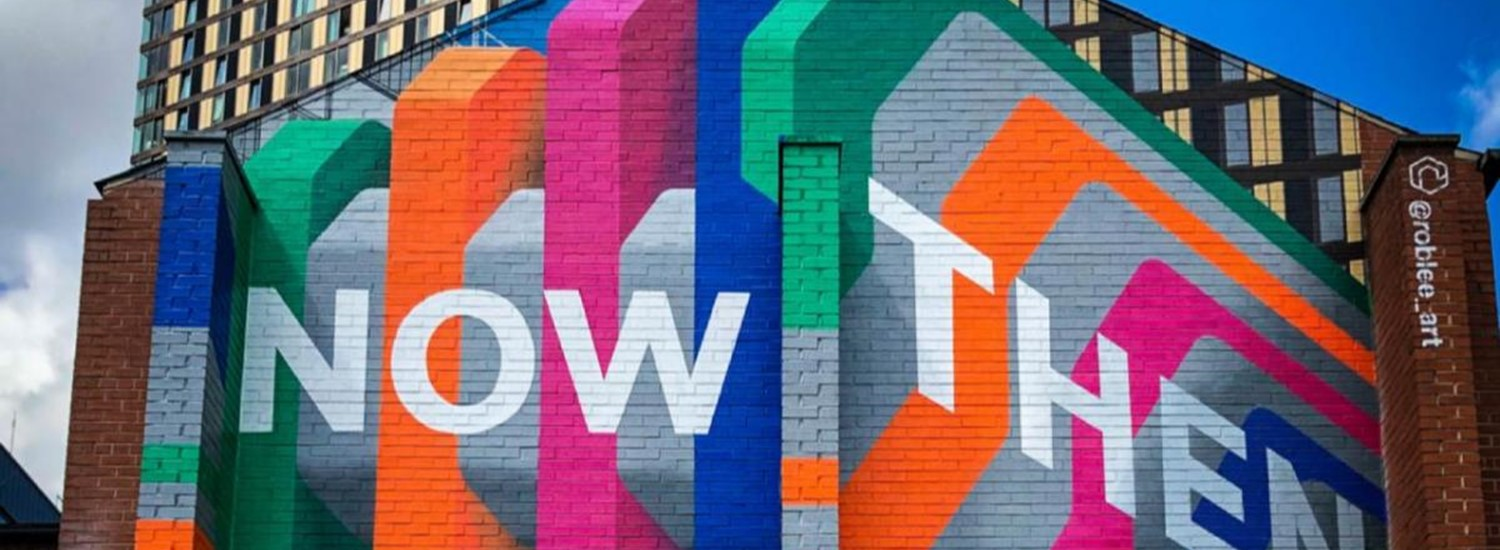Now Then Then Now artwork on the side of building in Sheffield