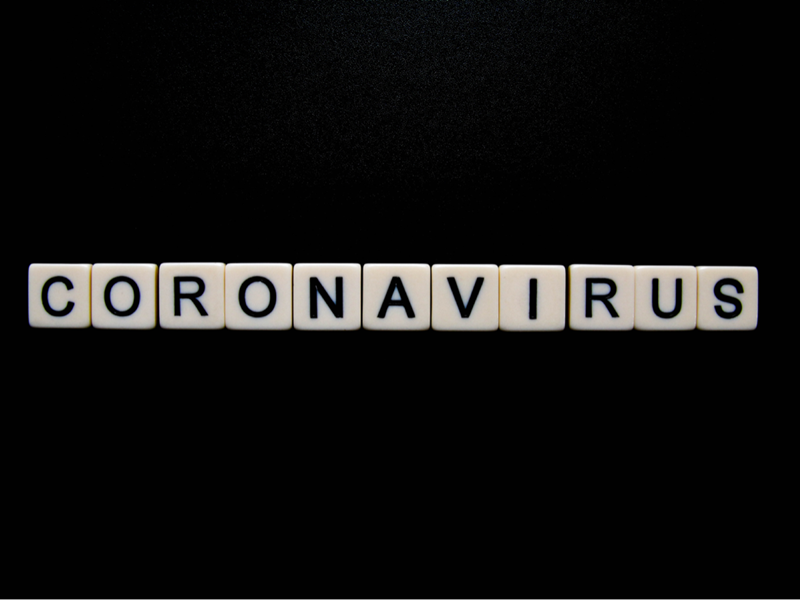 Coronavirus spelled out on scrabble pieces