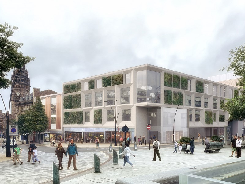 artist impression of a contemporary building with greenery on the outside walls
