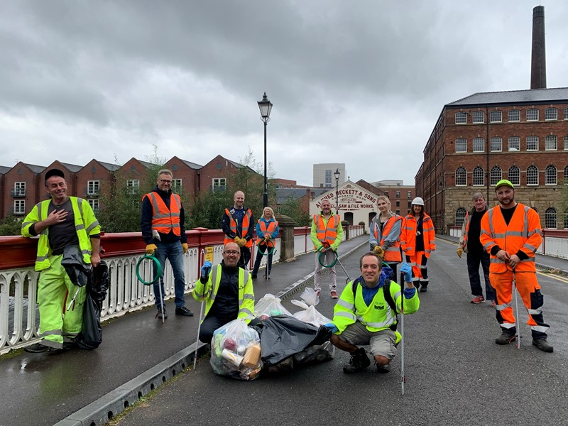 Litter pickers in Kelham Island