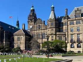 Sheffield Town Hall with blue sky