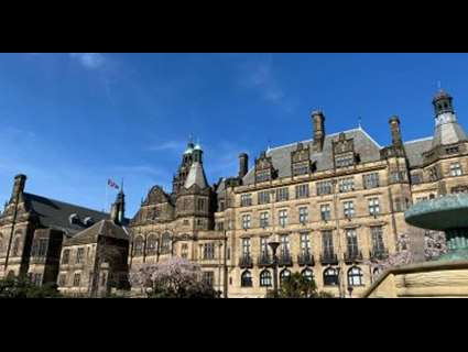 Sheffield town hall with a blue sky overhead