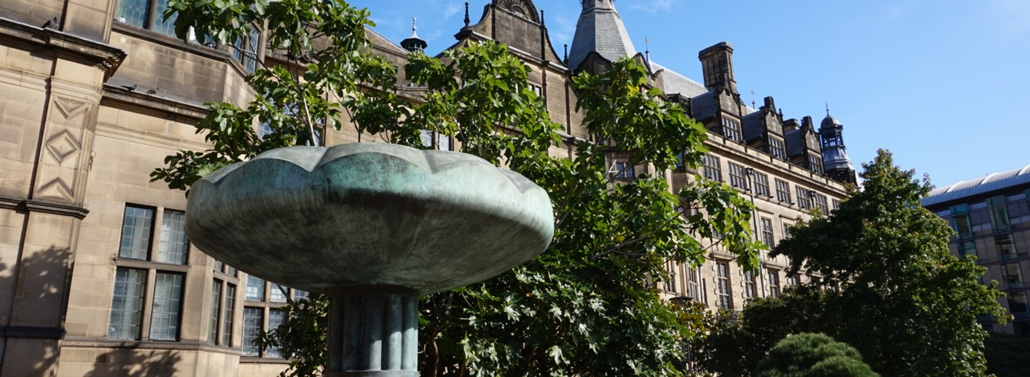Sheffield Town Hall and Peace Gardens fountain