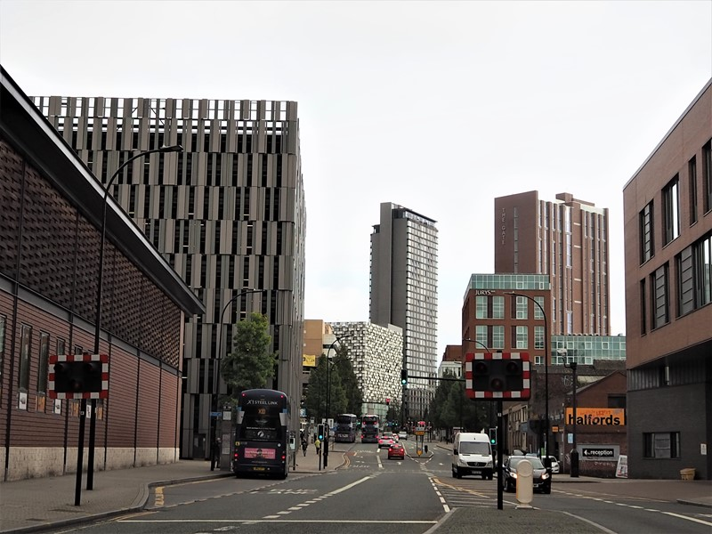 Looking down Eyre street featuring Sheffield buildings
