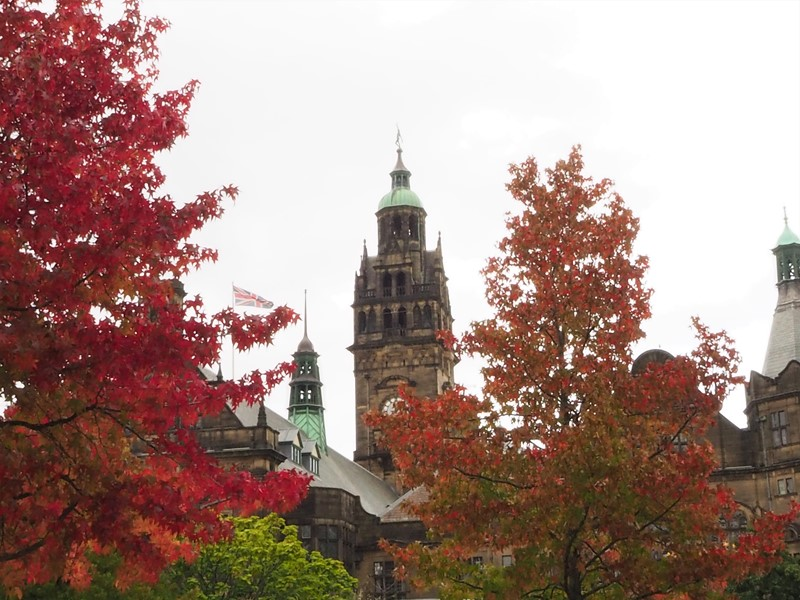 Town hall clock in autumn