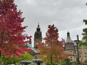Sheffield Town Hall with autumnal foliage trees
