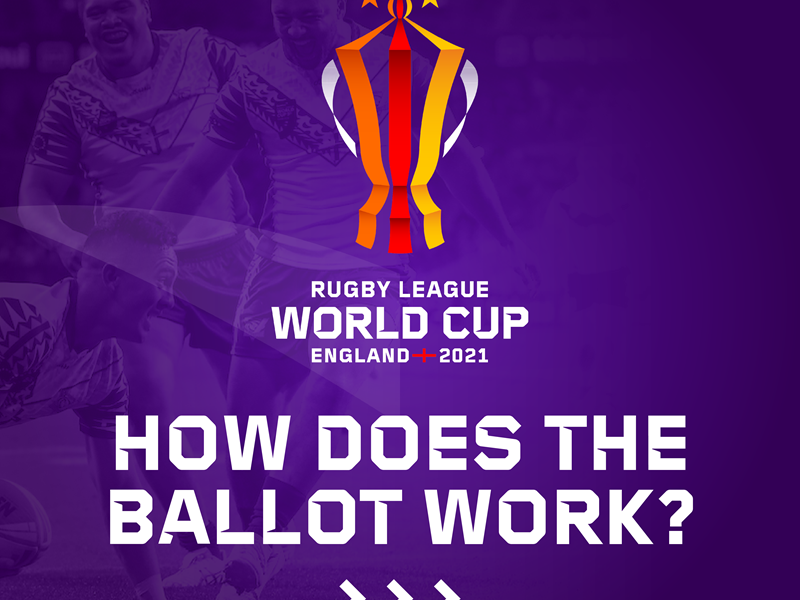 Design of a trophy for the Rugby League World Cup on a purple background