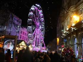 Big wheel on Fargate in Sheffield dressed with Christmas lights