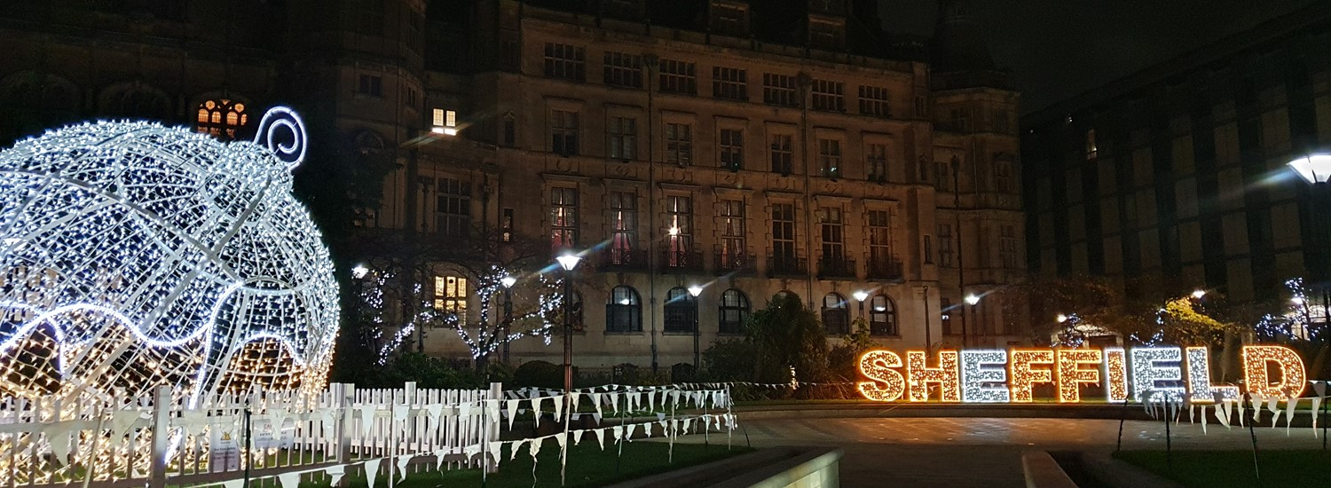Christmas illuminations in Sheffield Peace Gardens