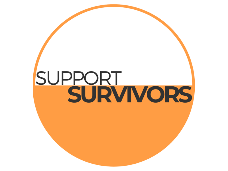 Orange and white circle saying 'Support survivors'