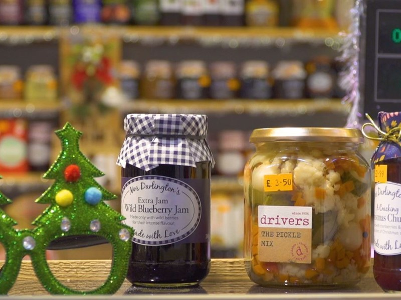 Festive glasses and jars of food at the Moor Market