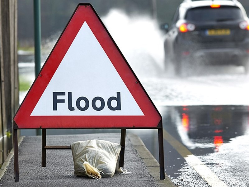 Flood defence sign