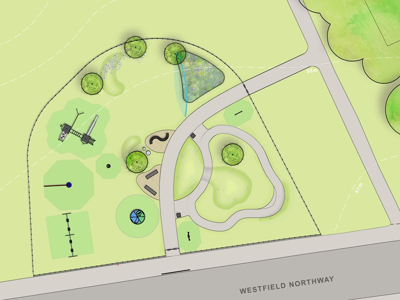 Design drawing of new playground at Westfield site