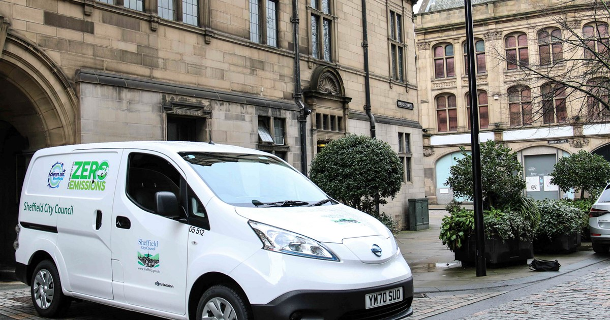 Van parked in front of Sheffield Town Hall