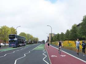 Visualisation of cycle lane on Attercliffe Common
