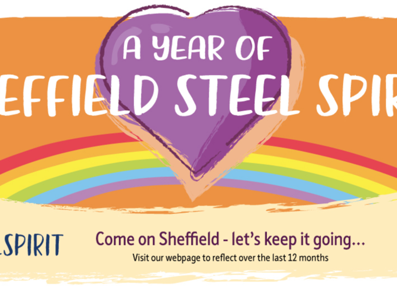 A year of Sheffield Steel Spirit with purple heart and orange background