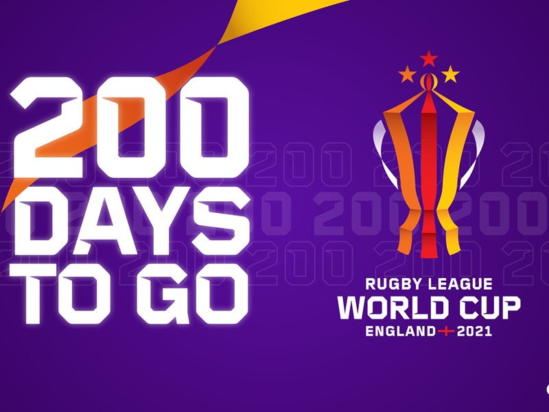 Graphic showing 200 days to go until the Rugby League World Cup 2021