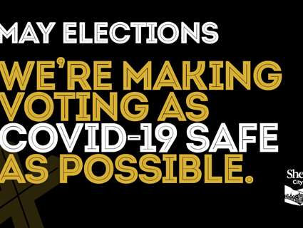 Text '6 May elections - we're making voting as covid-19 safe as possible'