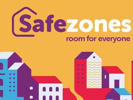 Colourful image of houses saying Safe zones room for everyone