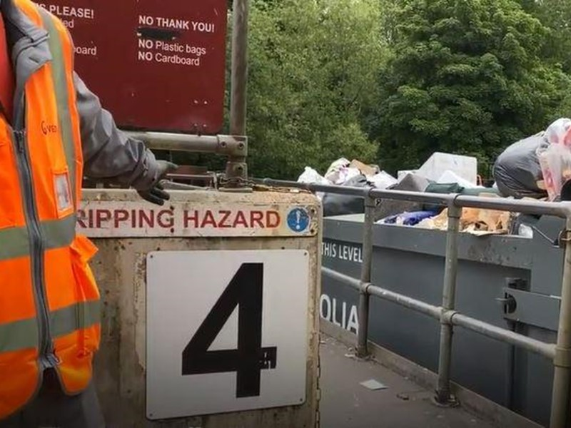Waste containers at recycling centre