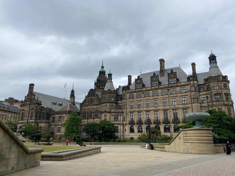 Sheffield Town Hall against a grey sky