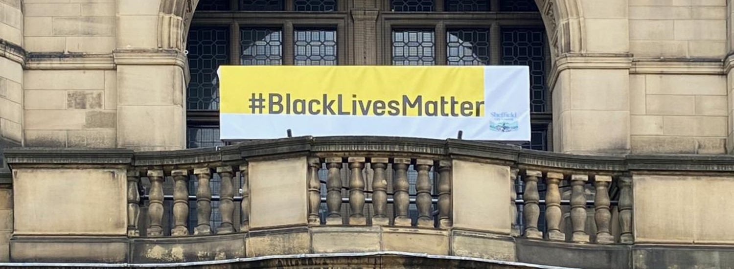 Banner reading Black Lives Matter on Sheffield Town Hall