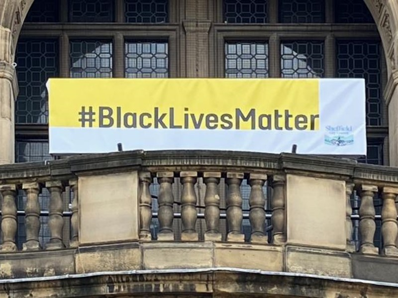 A banner at the Town Hall with the hastag #BlackLivesMatter