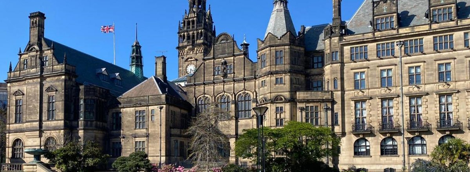 Sheffield Town Hall against a blue sky