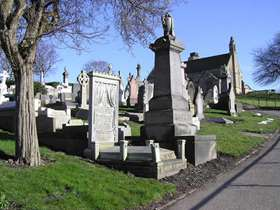 A cemetery and headstones