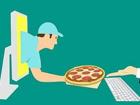 Graphic of a pizza delivery person and pizza