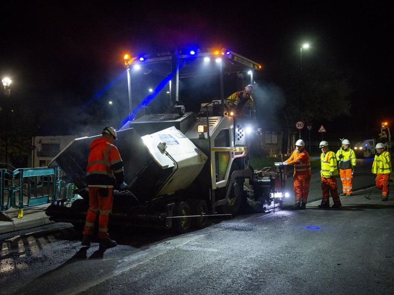 Road works at night