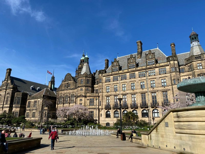 Sheffield Town Hall with bright blue sky