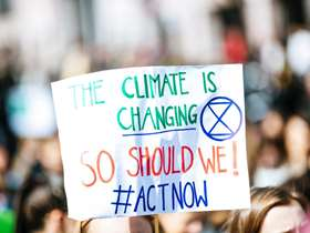 Climate change demonstration sign