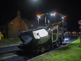 Resurfacing works at night