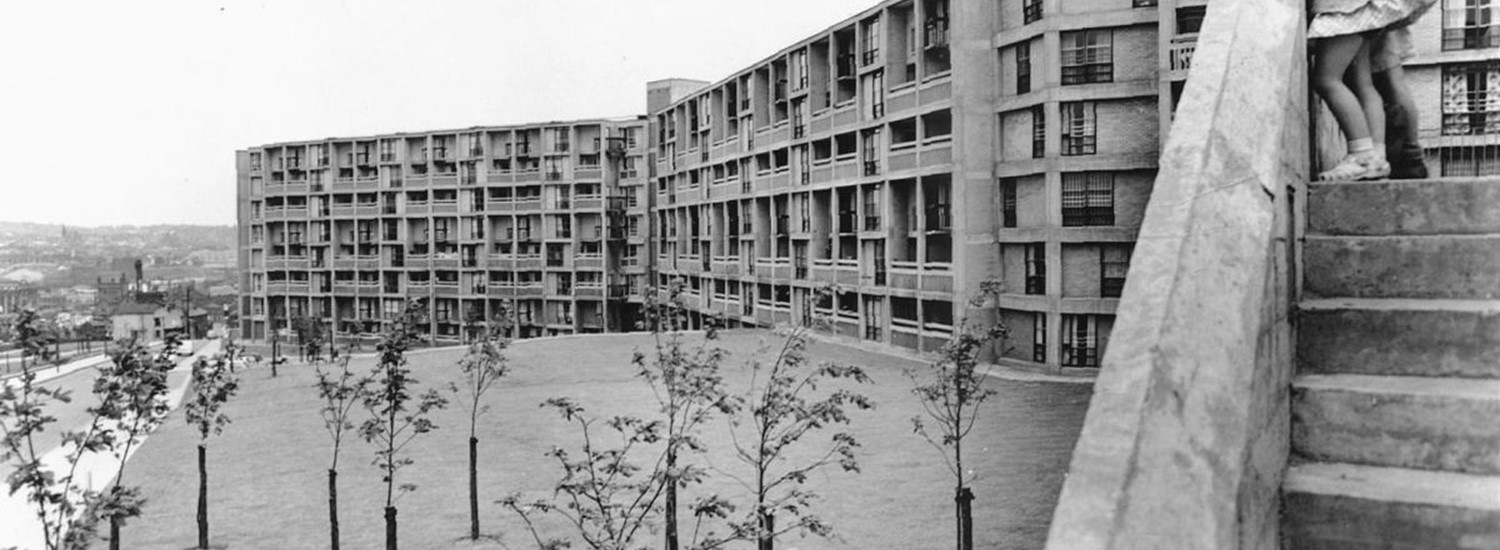 Park Hill flats with kids