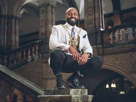 Magid in Town Hall Foyer