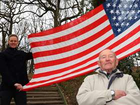 Tony Foulds and Dan Walker with American flag