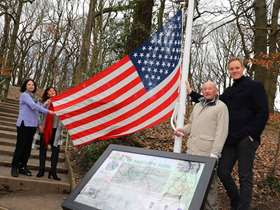 Flagpole and memorial tree planted as part of Mi Amigo celebrations