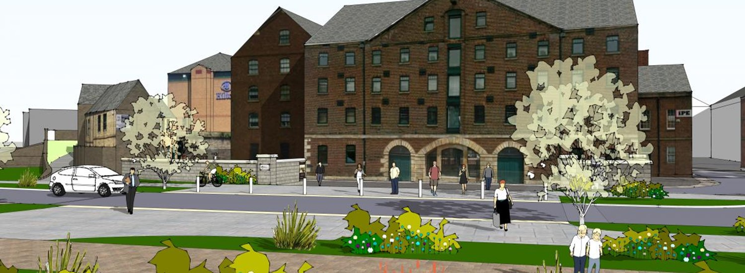 artists impression of the grey to green scheme