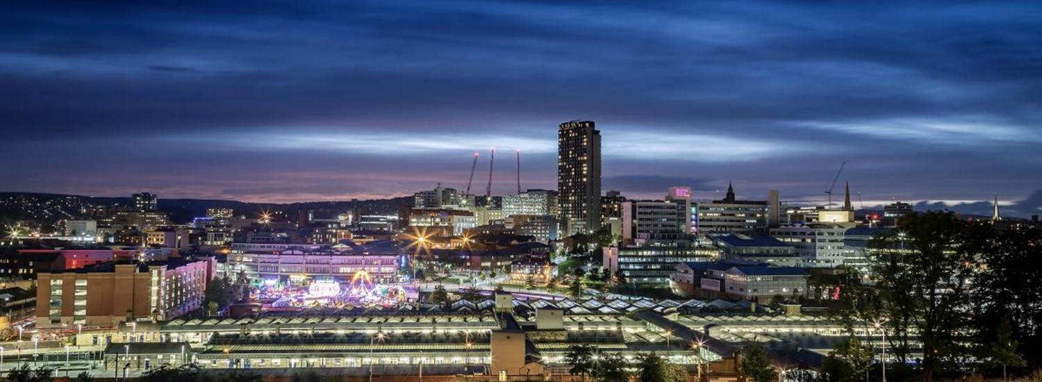 Sheffield city skyline at night