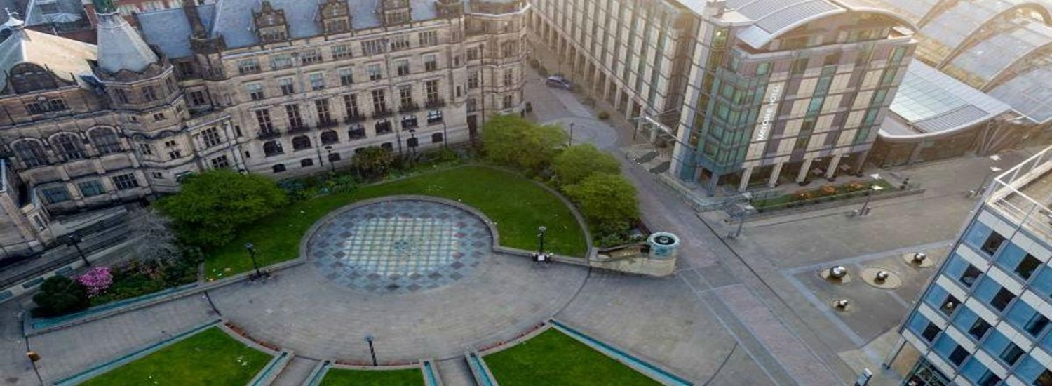 Aerial view of the peace gardens and town hall