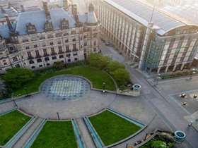 Aerial view of the Peace Gardens and the town hall