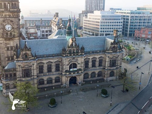 Drone image of Town Hall